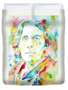 Oscar Wilde Watercolor Portrait.1 Duvet Cover