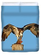 Osprey With Spotted Bass Duvet Cover