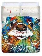 Otter Art - Ottertude - By Sharon Cummings Duvet Cover