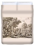 Otter Hunting By A River, Engraved Duvet Cover