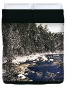 Ouareau River And Snow Covered Duvet Cover