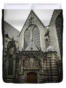 Oude Kerk Door With Bikes Amsterdam Duvet Cover