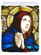 Our Lady Of Sorrows In Stained Glass Duvet Cover