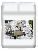 Outdoor Cafe Tables Duvet Cover by Oscar Gutierrez
