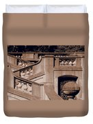 Outdoor Estate Stairway In Sepia Duvet Cover