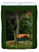 Outdoor Fall Halloween Decorations Duvet Cover