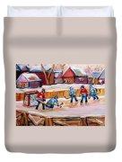Outdoor Rink Hockey Game In The Village Hockey Art Canadian Landscape Scenes Carole Spandau Duvet Cover