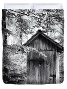 Outhouse In The Forest Black And White Duvet Cover