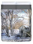 Outhouse In Winter Duvet Cover