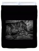 Outside The Barn Bw Duvet Cover