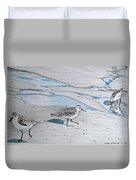 Overcast Day With Sanderlings Duvet Cover
