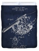 Owen Revolver Patent Drawing From 1899- Navy Blue Duvet Cover