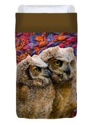 Owlets In Color Duvet Cover