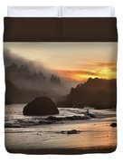 Pacific Fog And Fire Duvet Cover by Adam Jewell