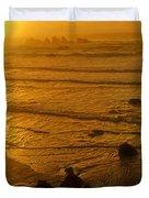 Pacific Ocean Sunset Bandon Beach Oregon Duvet Cover