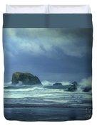 Pacific Storm Bandon Beach Oregon Duvet Cover