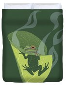 Pacific Tree Frog In Skunk Cabbage Duvet Cover