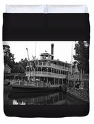 Paddle Boat Black And White Walt Disney World Duvet Cover