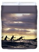 Paddlers Silhouetted Duvet Cover