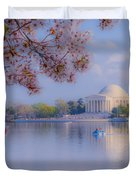 Paddling Past The Blossoms On The Basin Duvet Cover