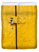 Padlock On An Old Yellow Door Duvet Cover