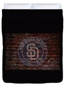 Padres Baseball Graffiti On Brick  Duvet Cover by Movie Poster Prints