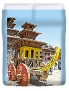 Pagoda-style Carriage In Bhaktapur Durbar Square In Bhaktapur-nepal Duvet Cover