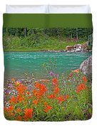 Paintbrush By Bow River In Banff Np-ab Duvet Cover
