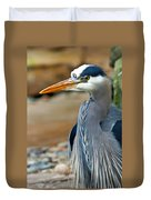 Painted Blue Heron Duvet Cover
