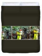Painted Bullfinch Trio Duvet Cover