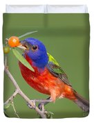 Painted Bunting Eating Granjeno Berry Duvet Cover