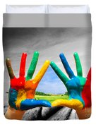 Painted Colorful Hands Showing Way To Colorful Happy Life Duvet Cover