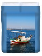 Painted Fishing Boat In Corfu Greece Duvet Cover