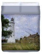Painted Fort Gratiot Light House Duvet Cover