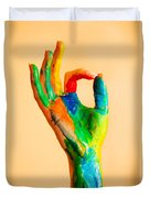 Painted Hand With Ok Sign Duvet Cover