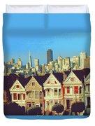 Alamo Square San Francisco - Digital Art Duvet Cover
