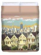 San Francisco Alamo Square - Watercolor Illustration Duvet Cover