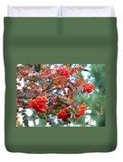Painted Mountain Ash Berries Duvet Cover