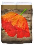 Painted Poppy On Wood Duvet Cover