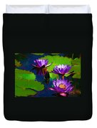Painted Purple Water Lilies Duvet Cover