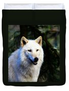 Painted White Wolf Duvet Cover