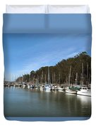 Painting Bay Side Harbor Duvet Cover