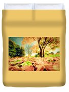 Painting Of Autumn Fall Landscape In Park Duvet Cover