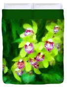 Painting Of Green Orchids Duvet Cover