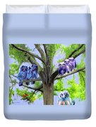 Painting Of Owls And Birds Nest In Tree Duvet Cover