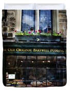 Can You See The Ghost In The Top Window At The Old Original Bakewell Pudding Shop Duvet Cover