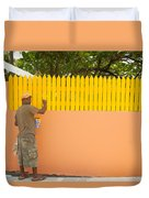 Painting The Fence Duvet Cover