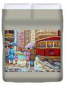 Paintings Of Fifties Montreal-downtown Streetcar-vintage Montreal Scene Duvet Cover