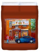 Paintings Of Montreal Fairmount Bagel Shop Duvet Cover by Carole Spandau