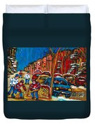Paintings Of Montreal Hockey City Scenes Duvet Cover